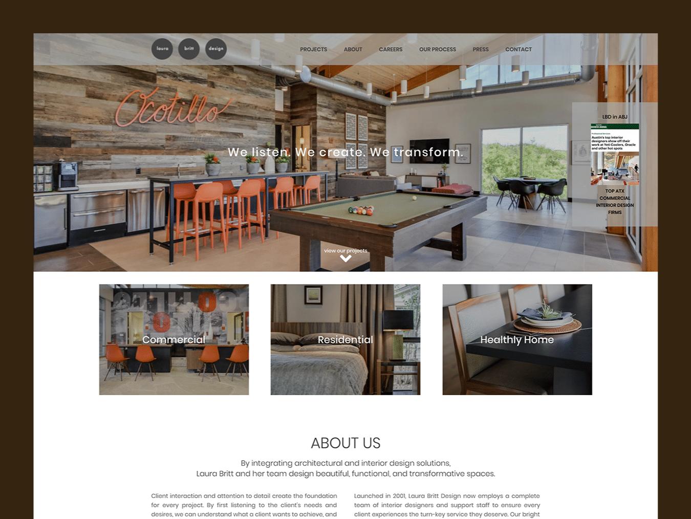 Interior Design Web Design – Laura Britt Design (Thumbnail Design)