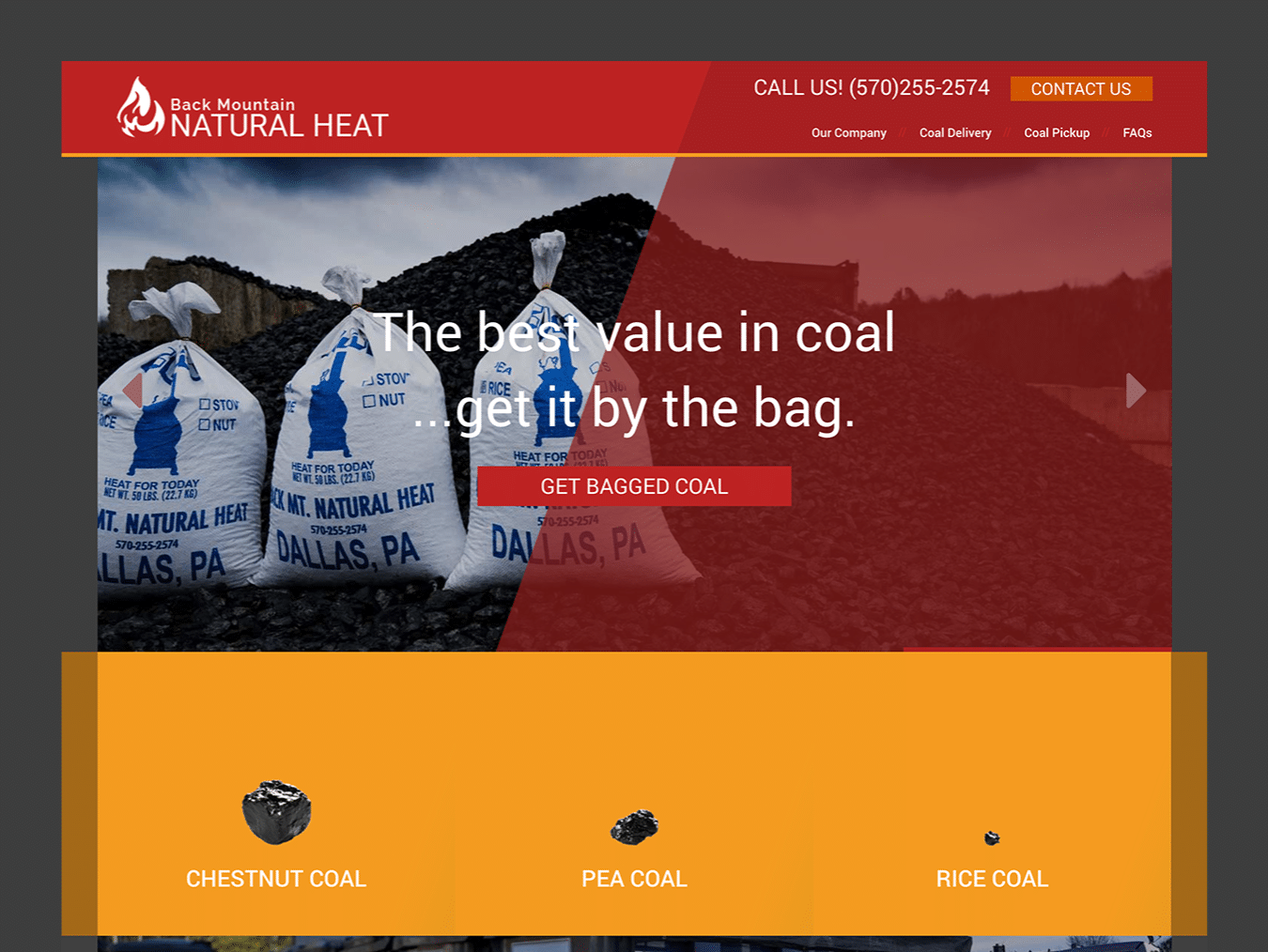 Service Company Web Design – Back Mountain Natural Heat (Thumbnail Design)