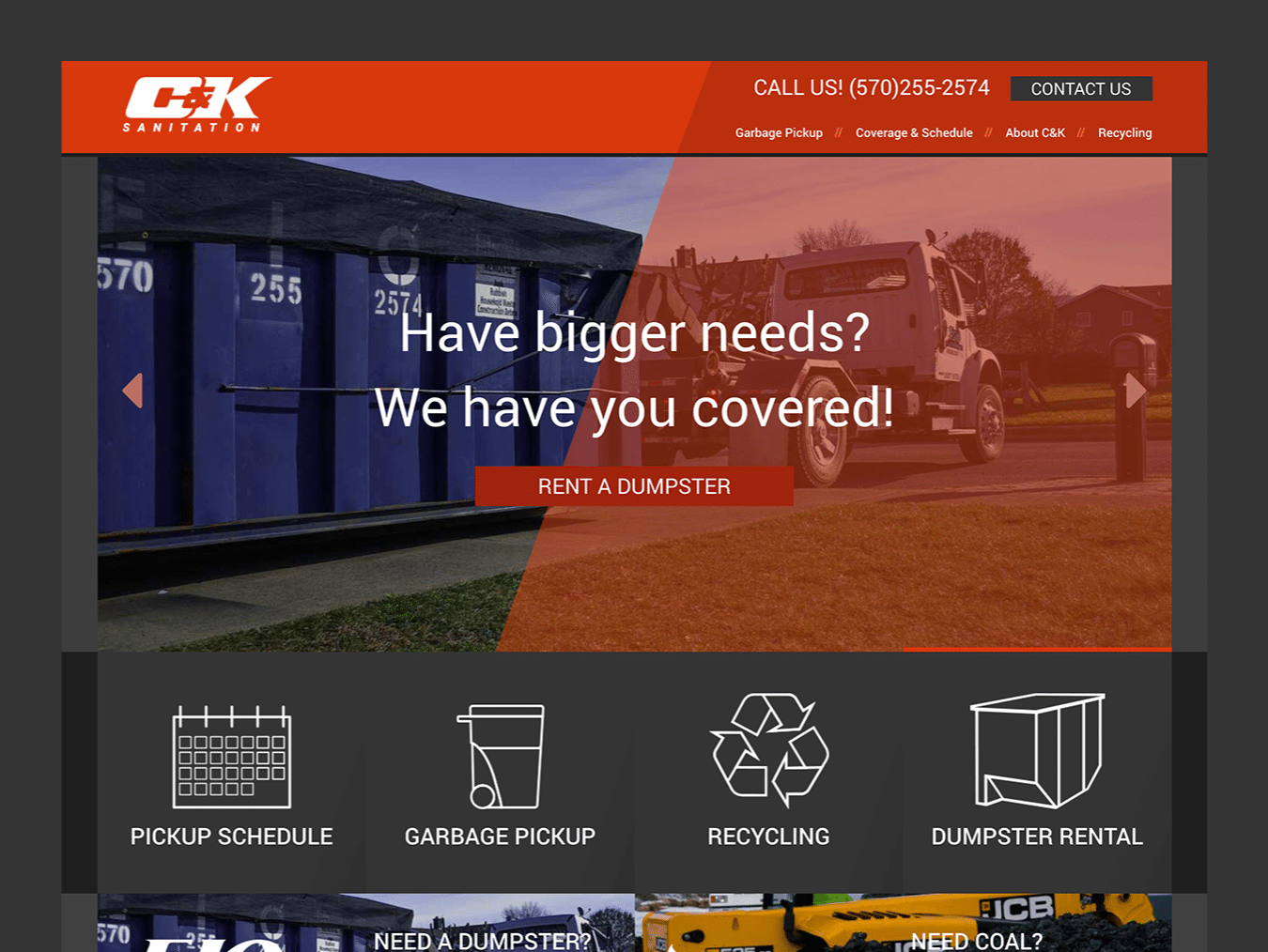 Service Company Web Design – C&K Sanitation (Thumbnail Design)