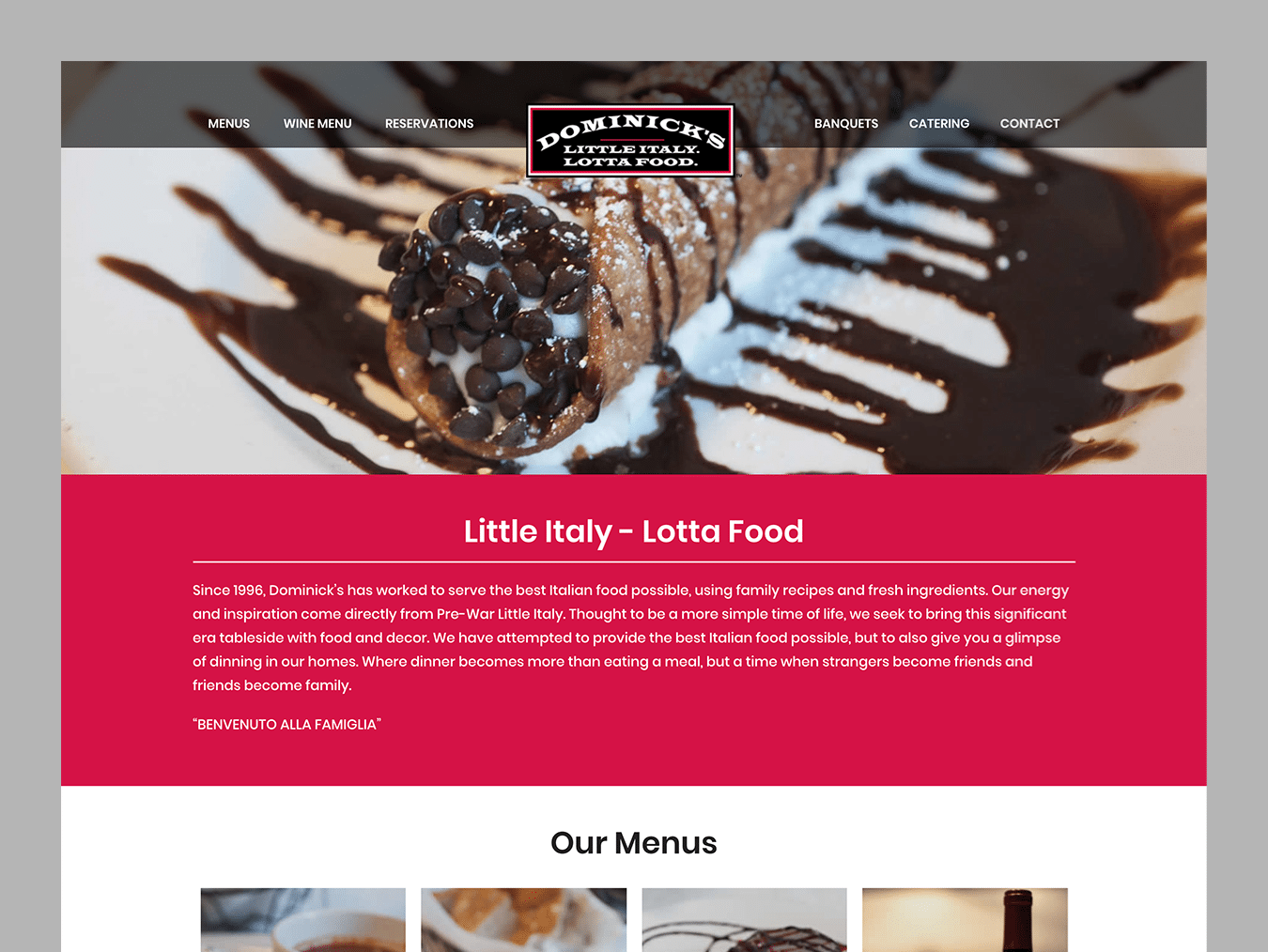 Service Company Web Design – Dominick's Italian (Thumbnail Design)