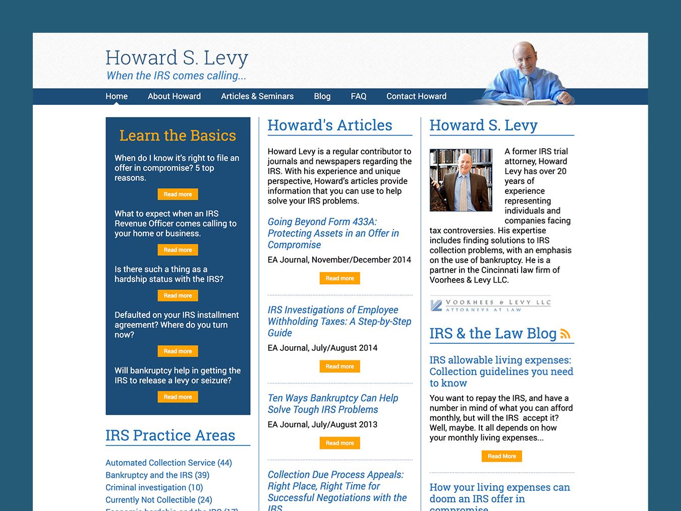 Service Company Web Design – Howard S. Levy (Thumbnail Design)