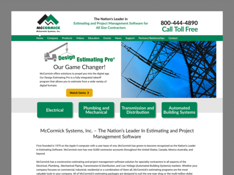 Service Company Web Design – McCormick Systems (Thumbnail Design)