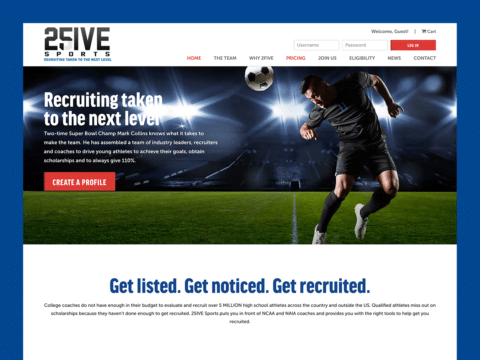 Sports Web Design – 2Five Sports (Thumbnail Design)