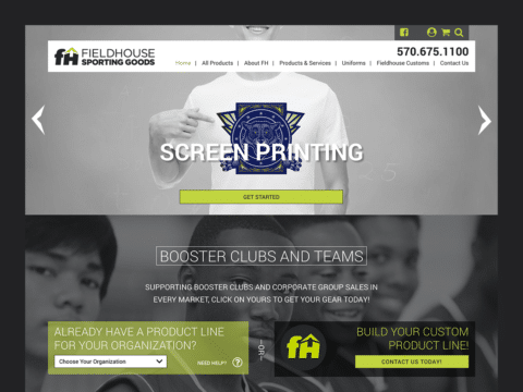 Clothing & Apparel Web Design – Fieldhouse Sporting Goods (Thumbnail Design)