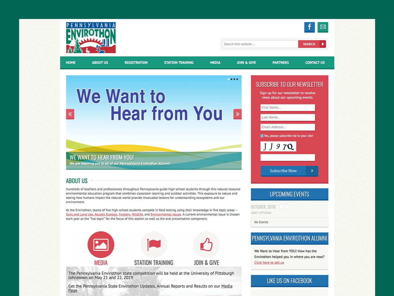 Event Web Design – Pennsylvania Envirothon (Thumbnail Design)