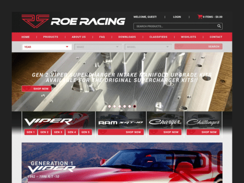 Hardware & Tools Web Design – Roe Racing (Thumbnail Design)