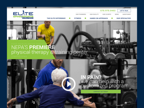 Health & Fitness Web Design – Elite Spine & Sports Physical Therapy (Thumbnail Design)