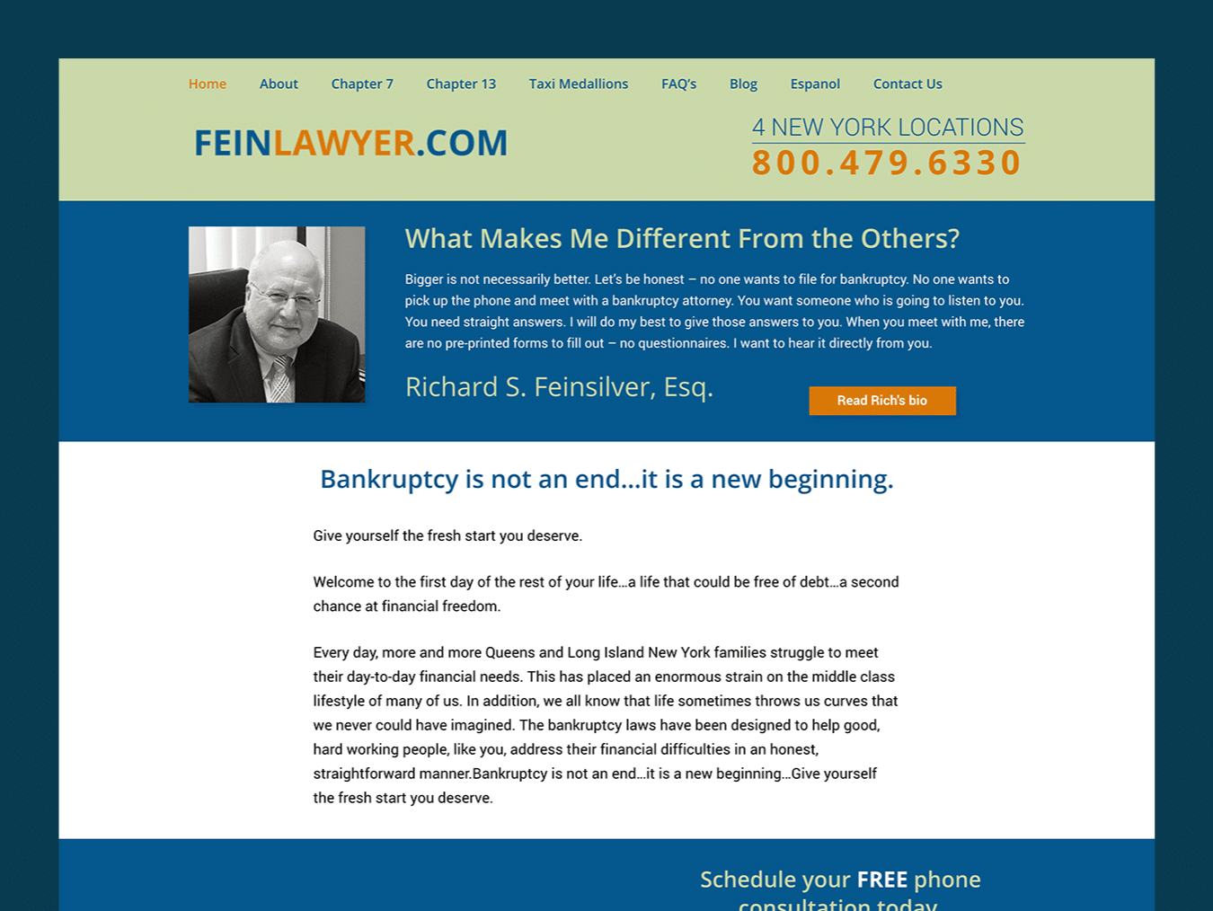 Law Firm Web Design – Fein Law (Thumbnail Design)