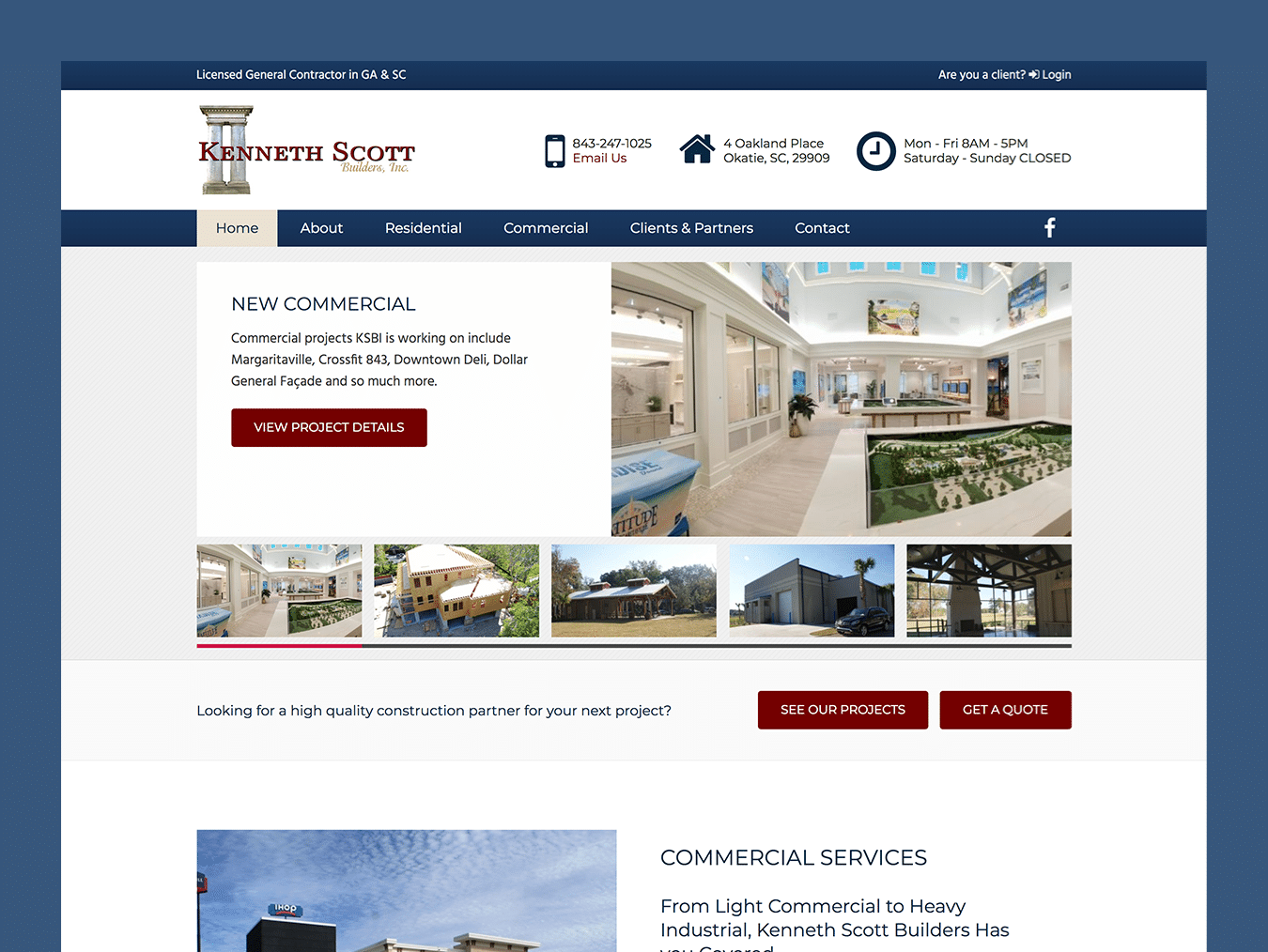Service Company Web Design – Kenneth Scott Builders (Thumbnail Design)
