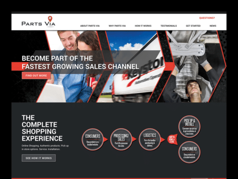 Service Company Web Design – Parts Via (Thumbnail Design)