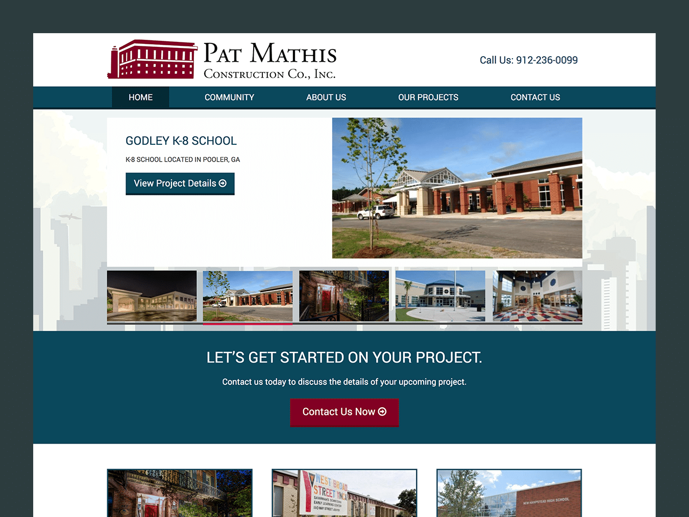 Service company Web Design – Pat Mathis Construction (Thumbnail Design)