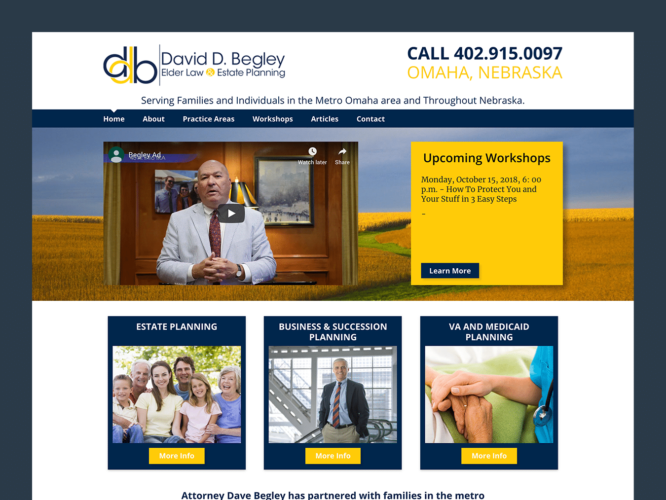 Service Company Web Design – David D. Begley (Thumbnail Design)