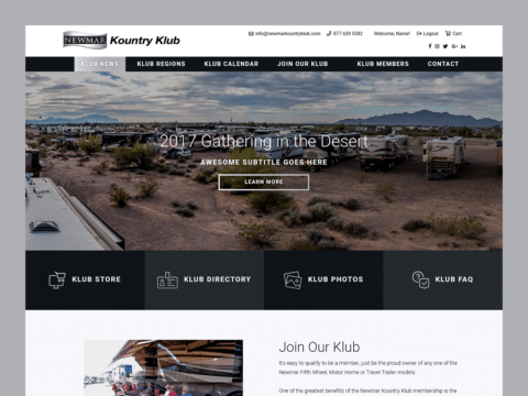 Lifestyle Web Design – Newmar Kountry Klub (Thumbnail Design)