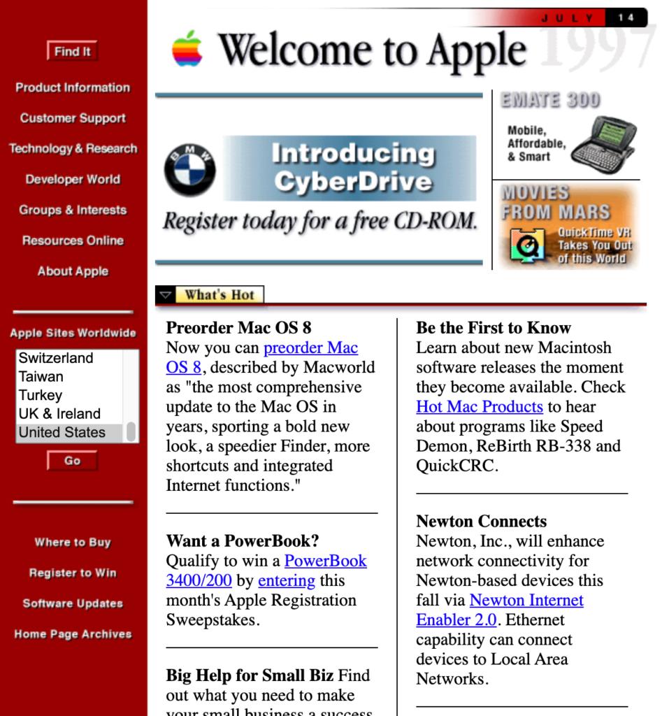apple website 1997